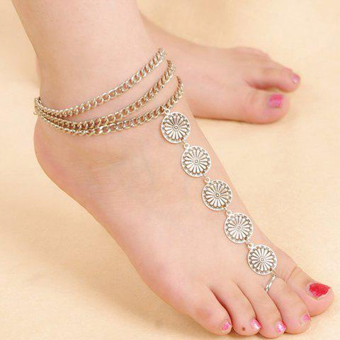 Vintage Flower Layered Women's Anklet - SILVER