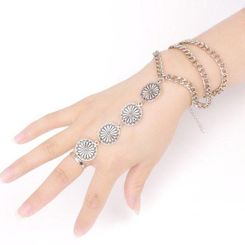 Vintage Flower Layered Women's Bracelet With Ring - SILVER