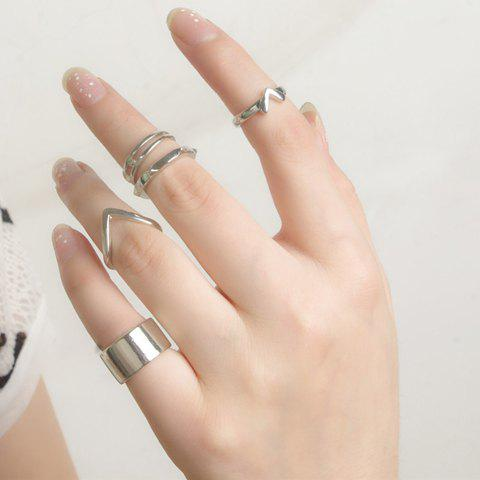 5PCS Rivet V Shaped Layered Rings - SILVER ONE-SIZE