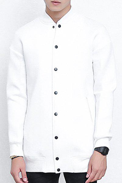 Loose-Fitting Stand Collar Rib Splicing Long Sleeve Lengthen Men's Baseball Jacket - WHITE M
