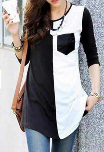 Brief Color Spliced Scoop Neck Long Sleeve T-Shirt For Women - WHITE/BLACK M
