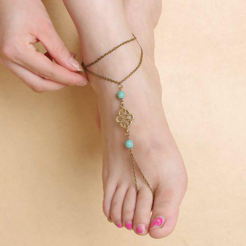 Faux Turquoise Beads Floral Layered Anklet - RANDOM COLOR
