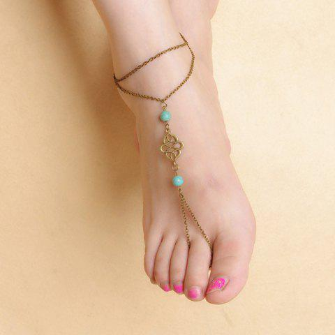Faux Turquoise Beads Floral Layered Fancy Anklets - RANDOM COLOR