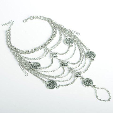 Retro Style Tassels Chain Layered Coin Women's Anklet - SILVER