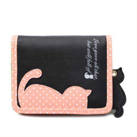 Sweet Cat Pattern and Polka Dots Design Wallet For Women - BLACK