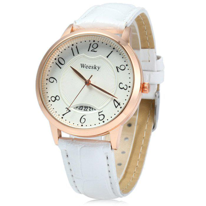 Weesky Leather Band Date Display Quartz Watch Golden Case for Women