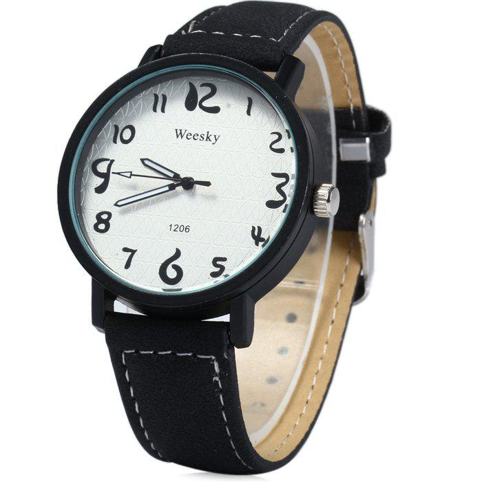 Weesky 1206 Arabic Numerals Scales Male Quartz Watch with Leather Band - BLACK