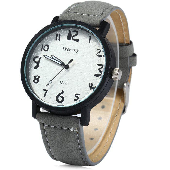 Weesky 1206 Arabic Numerals Scales Male Quartz Watch with Leather Band - GRAY