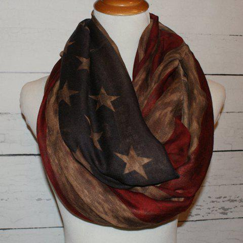 Fashionable American Flag Pattern Voile Women's Bib Scarf - BROWN