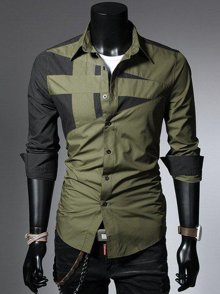 Fashion Hit Color Irregular Splicing Shirt Collar Long Sleeve Slimming Polyester Shirt For Men - ARMY GREEN XL