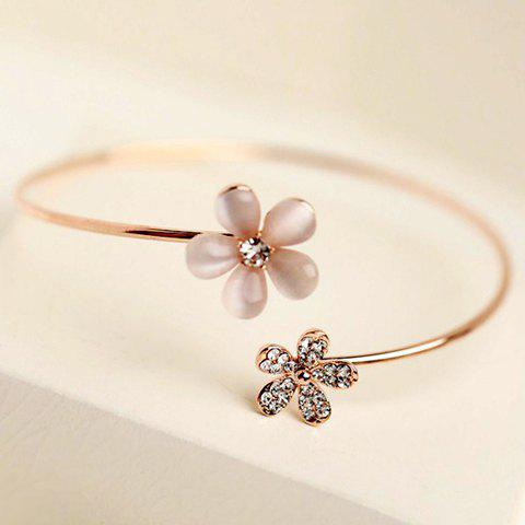Chic Faux Opal Rhinestone Flower Bracelet For Women - GOLDEN