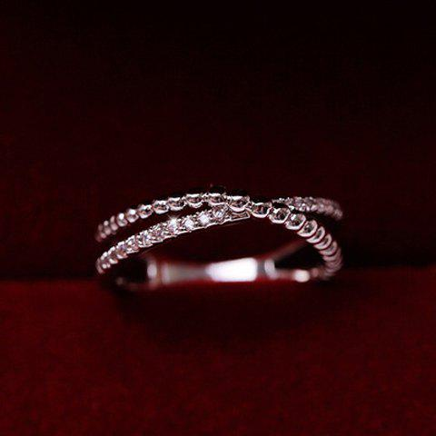 Sweet Cute Crossed Rhinestone Circle Ring For Women - WHITE GOLDEN ONE-SIZE