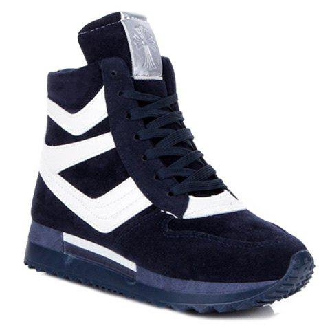 trendy splicing and suede design athletic shoes for