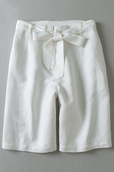 Vintage Style Zipper-Fly Tie-Up Wide Leg Women's White Fifth Pants - WHITE S
