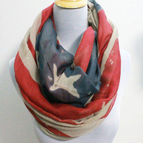 Chic American Flag Scrawl Pattern Women's Voile Scarf - RED