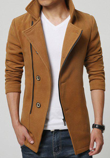 Long Style Stand Collar Inclined Zipper Fly Back Slit Solid Color Long Sleeves Men's Woolen Blend Coat - CAMEL XL
