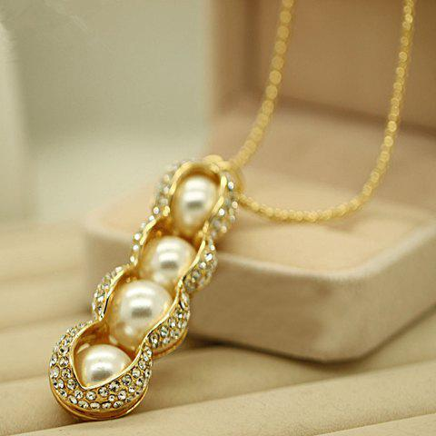Chic Faux Pearl Peanut Pendant Design Sweater Chain Necklace For Women - GOLDEN