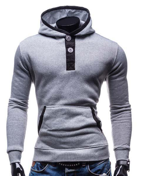 Slimming Hooded Modish Color Block Splicing Button Design Long Sleeve Cotton Blend Men's Hoodie - LIGHT GRAY 2XL
