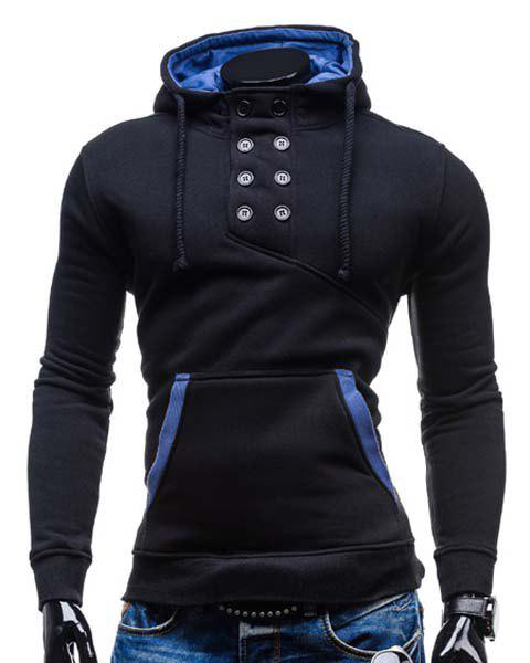 Slimming Hooded Stylish Double Breasted Pocket Hemming Long Sleeve Cotton Blend Men's Hoodie - M BLACK