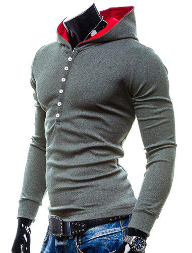 Hooded Buttons Simple Pullover Hoodie - GRAY 2XL