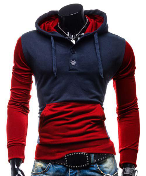 Slimming Hooded Modish Two Color Splicing Button Design Long Sleeve Cotton Blend Men's Hoodie - Rouge XL