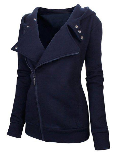 Stylish Women's Solid Color Long Sleeve Hoodie - CADETBLUE M