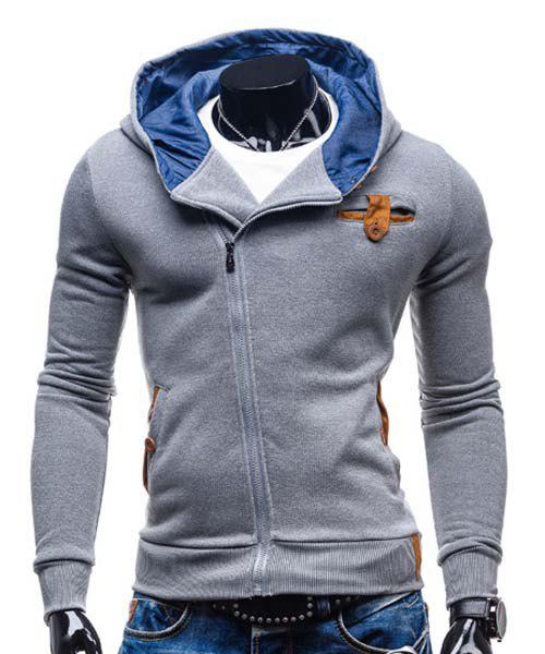 Slimming Hooded Fashion Patched Splicing Oblique Zipper Long Sleeve Polyester Men's Hoodie