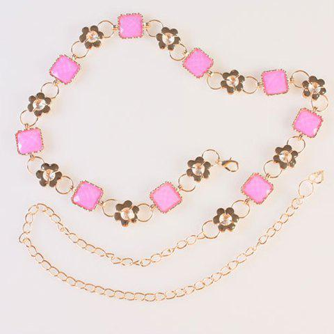 Chic Quadrate Faux Gem and Rhinestone Embellished Women's Alloy Waist Chain - PINK