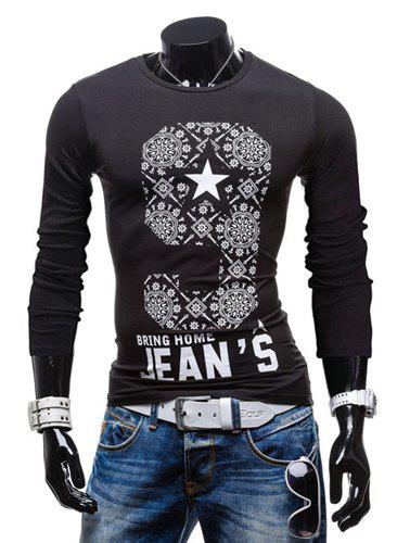 Trendy Round Neck Star and Ethnic Pattern Slimming Long Sleeve Polyester T-Shirt For Men