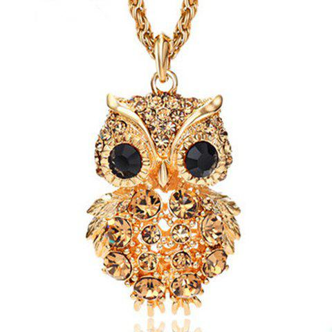 Cute Rhinestone Night Owl Women's Sweater Chain - GOLDEN