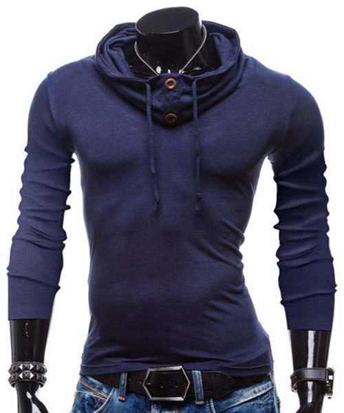Slimming Piles Collar Modish Solid Color Button Design Long Sleeve Polyester Men's T-Shirt - BLUE M