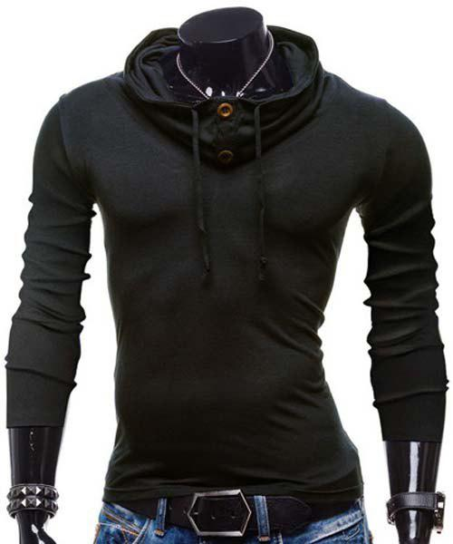 Slimming Piles Collar Modish Solid Color Button Design Long Sleeve Polyester Men's T-Shirt - BLACK L