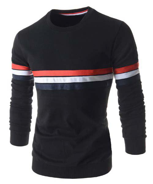 Slimming Round Neck Stylish Colorful Stripes Pattern Long Sleeve Polyester Men's T-Shirt - BLACK L