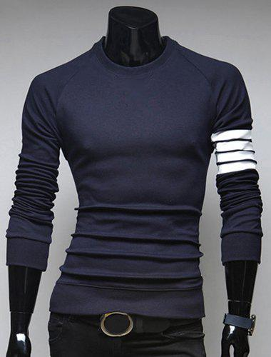 Slimming Round Neck Fashion Color Block Stripe Splicing Long Sleeve Polyester Men's T-Shirt - CADETBLUE M