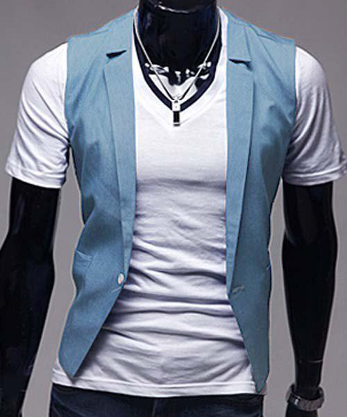 Slimming V-Neck Trendy Solid Color One Button Sleeveless Cotton Blend Men's Blue Waistcoat - LIGHT BLUE M