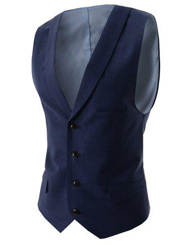 Fashion V-Neck Solid Color Single Breasted Slimming Sleeveless Cotton Blend Waistcoat For Men - CADETBLUE XL