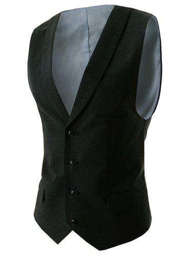 Slimming V-Neck Modish Solid Color Single Breasted Sleeveless Cotton Blend Men's Waistcoat - BLACK L
