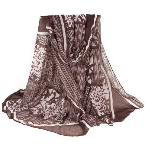 Chic Lattice and Geometric Pattern Women's Voile Scarf - COFFEE
