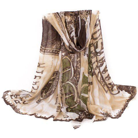Chic Dollar Bill Print Women's Voile Scarf - COFFEE
