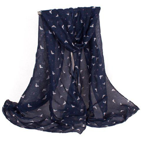 Chic Fulled Small Butterflies Scrawl Pattern Women's Voile Scarf - CADETBLUE