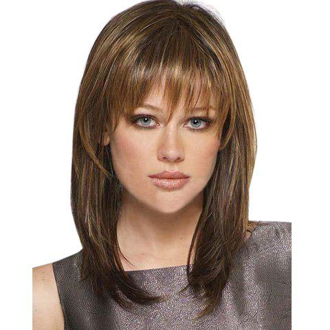 Brown Mixed Gold Vogue Full Bang Natural Straight Long Capless Synthetic Wig For Women fashion silky straight capless long black mixed brown full bang synthetic wig for women