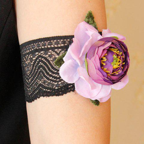 Chic Flower Lace Armlet For Women - BLACK/PURPLE