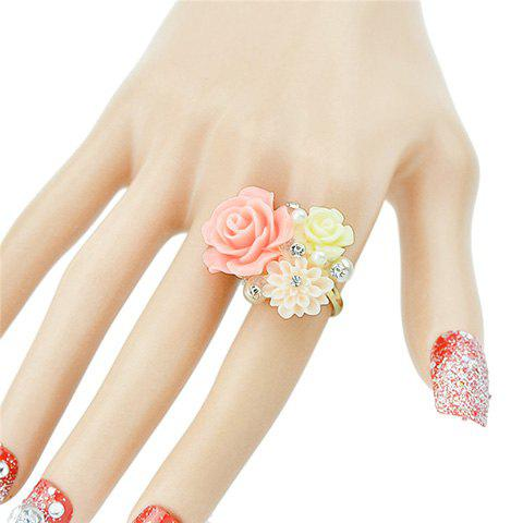 Cute Rhinestone Decorated  Resin Flower Shape Ring For Women - ONE-SIZE GOLDEN