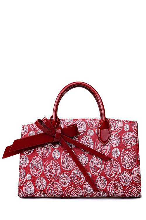 Elegant Patent Leather and Scrawl Design Women's Tote Bag - WINE RED