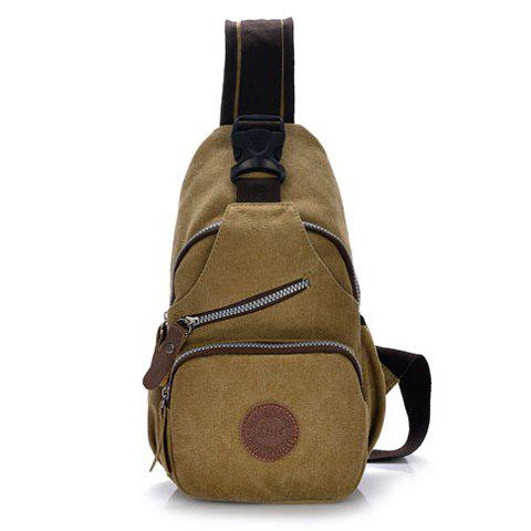 Retro Splicing and Rivets Design Chest Bag For Men - KHAKI