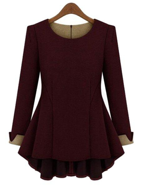 Stylish Long Sleeve Scoop Neck Color Block Ruffled Blouse For Women - WINE RED XL