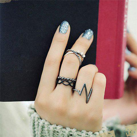 4PCS Faux Pearl Cut Out Rings - BLACK ONE-SIZE