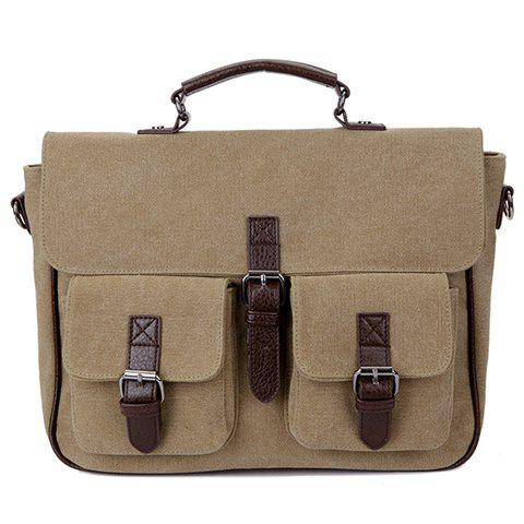 Fashion Buckle and Splicing Design Briefcase For Men - KHAKI
