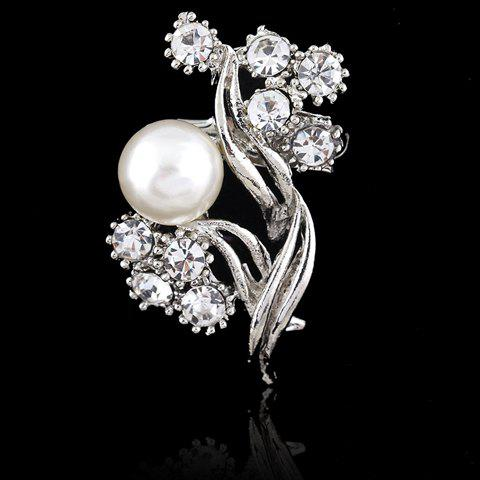 Rhinestone and Faux Pearl Decorated Geometric Brooch - SILVER