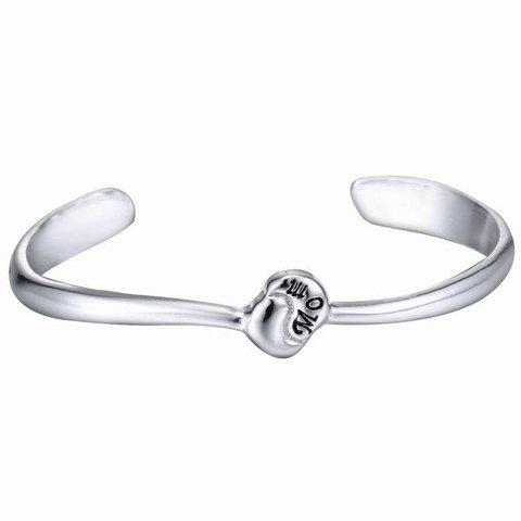 Chic Solid Color Letter Printed Cuff Bracelet For Women - SILVER